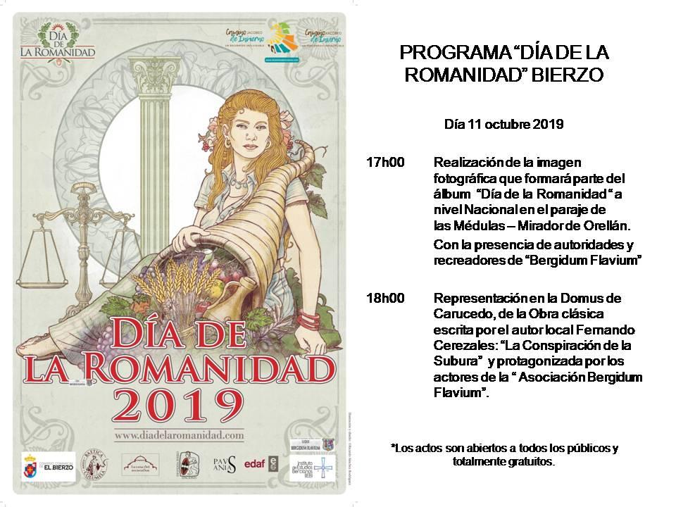 Programa de actos del Día de la Romanidad en El Bierzo